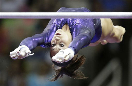 Jordyn Wieber competes on the uneven bars during the final round of the women&#39;s Olympic gymnastics trials, Sunday, July 1, 2012, in San Jose, Calif. Wieber was named to the U.S. Olympic gymnastics team.  &#40;AP Photo&#47;Jae C. Hong&#41; <span class=meta>(AP Photo&#47; Jae C. Hong)</span>