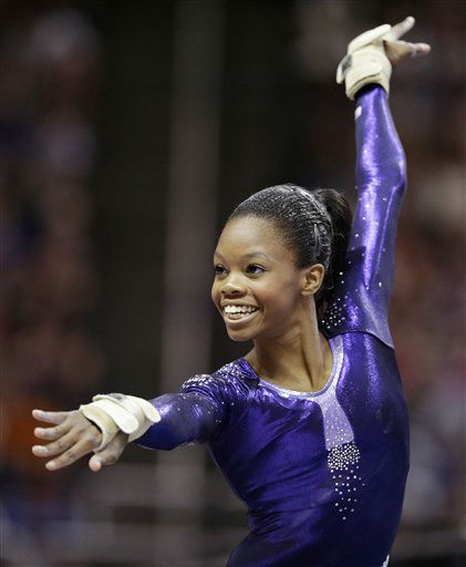"<div class=""meta image-caption""><div class=""origin-logo origin-image ""><span></span></div><span class=""caption-text"">Gabby Douglas performs in the floor exercise during the final round of the women's Olympic gymnastics trials, Sunday, July 1, 2012, in San Jose, Calif. Douglas was named to the U.S. Olympic gymnastics team.  (AP Photo/Jae C. Hong) (AP Photo/ Jae C. Hong)</span></div>"