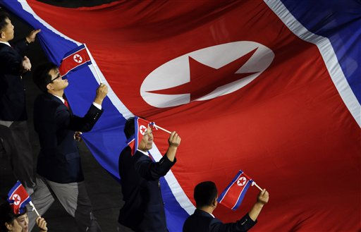 The North Korean Olympic team arrives during the Opening Ceremony at the 2012 Summer Olympics, Friday, July 27, 2012, in London.  <span class=meta>(AP Photo&#47; Charlie Riedel)</span>