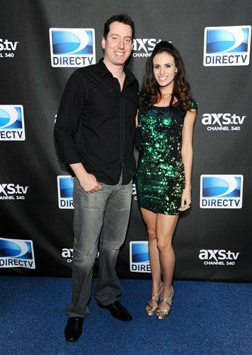 NASCAR driver Kyle Busch and Samantha Sarcinella arrives at DirecTV&#39;s Super Saturday Night party on Saturday, Feb. 2, 2013 in New Orleans.  <span class=meta>(AP photo)</span>