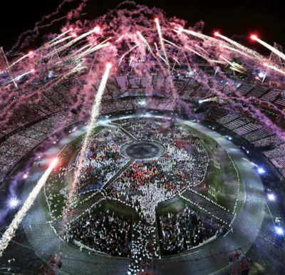 Fireworks light up over the stadium during the Opening Ceremony at the 2012 Summer Olympics, Saturday, July 28, 2012, in London.   <span class=meta>(AP Photo&#47; David J. Phillip)</span>