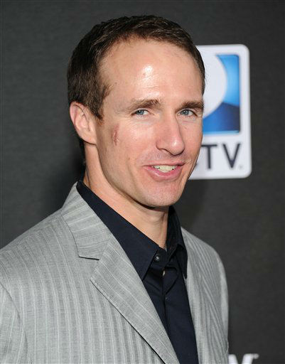 "<div class=""meta ""><span class=""caption-text "">New Orleans Saints quarterback Drew Brees arrives at DirecTV's Super Saturday Night party on Saturday, Feb. 2, 2013 in New Orleans.   (Photo/Evan Agostini)</span></div>"