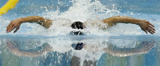United States&#39; Michael Phelps competes in the men&#39;s 100-meter butterfly swimming semifinal at the Aquatics Centre in the Olympic Park during the 2012 Summer Olympics in London, Thursday, Aug. 2, 2012. &#40;AP Photo&#47;Michael Sohn&#41; <span class=meta>(AP Photo&#47; Michael Sohn)</span>
