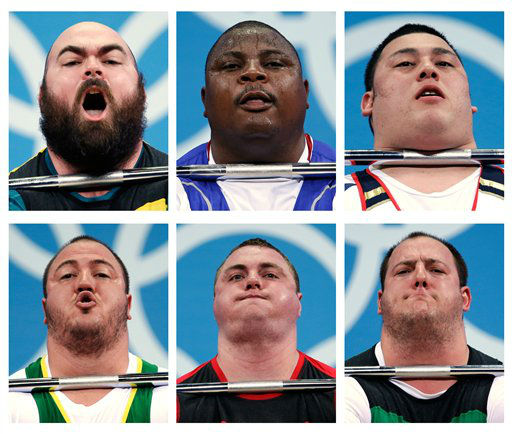 In this combination of photos, competitors from the men&#39;s over 105-kg, group B, compete during the weightlifting competition at the 2012 Summer Olympics, Tuesday, Aug. 7, 2012, in London. Seen are top row, Damon Kelly of Australia, Frederic Fokejou Tefot of Cameroon, and Kazuomi Ota of Japan. Second row, Fernando Saraiva Reis of Brazil, Yauheni Zharnasek of Belarus and Peter Nagy of Hungary. &#40;AP Photo&#47;Hassan Ammar&#41; <span class=meta>(AP Photo&#47; Hassan Ammar)</span>