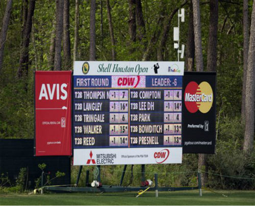 An electronic leaderboard displays scores during the first round of the Houston Open, Thursday, March 28, 2013, in Humble, Texas. <span class=meta>(AP Photo&#47; Bob Levey)</span>