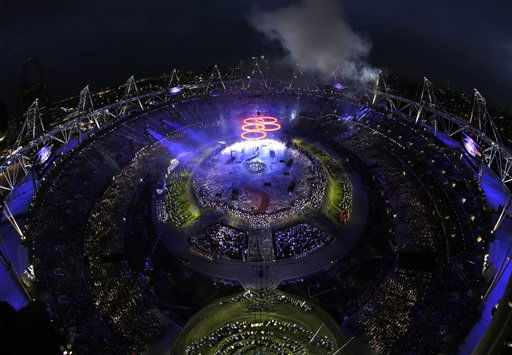 The Olympic rings light up the stadium during the Opening Ceremony at the 2012 Summer Olympics, Friday, July 27, 2012, in London.  <span class=meta>(AP Photo&#47; David J. Phillip)</span>