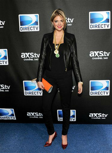 Model Kate Upton arrives at DirecTV&#39;s Super Saturday Night party on Saturday, Feb. 2, 2013 in New Orleans. <span class=meta>(AP photo)</span>