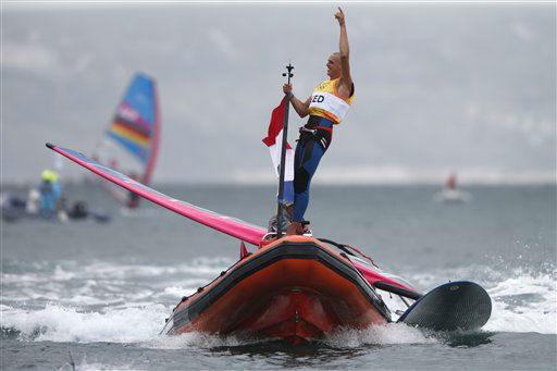 Dorian Van Rijsselberge of Netherlands celebrates his gold medal of the RS:X race at the London 2012 Summer Olympics, Tuesday, Aug. 7, 2012, in Weymouth and Portland, England. &#40;AP Photo&#47;Francois Mori&#41; <span class=meta>(AP Photo&#47; Francois Mori)</span>