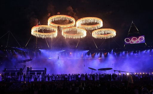The Olympic rings are lit with pyrotechnics during the Opening Ceremony at the 2012 Summer Olympics, Friday, July 27, 2012, in London.   <span class=meta>(AP Photo&#47; David Goldman)</span>