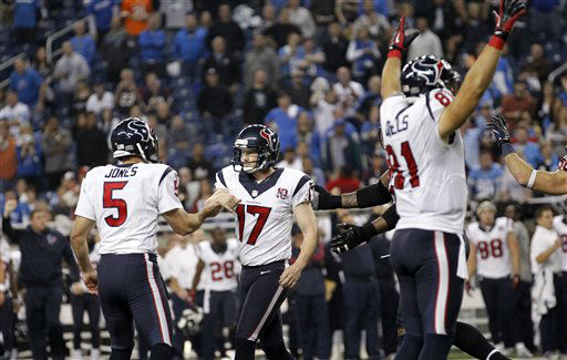 "<div class=""meta ""><span class=""caption-text "">Houston Texans kicker Shayne Graham (17) is congratulated by Donnie Jones (5) after kicking the game-winning field goal in overtime of an NFL football game against the Detroit Lions at Ford Field in Detroit, Thursday, Nov. 22, 2012. The Texans won 34-31. At right celebrating is Texans' Owen Daniels.   (AP Photo/ Rick Osentoski)</span></div>"