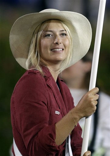 Russia&#39;s Maria Sharapova carries the flag during the Opening Ceremony at the 2012 Summer Olympics, Friday, July 27, 2012, in London.  <span class=meta>(AP Photo&#47; David Goldman)</span>