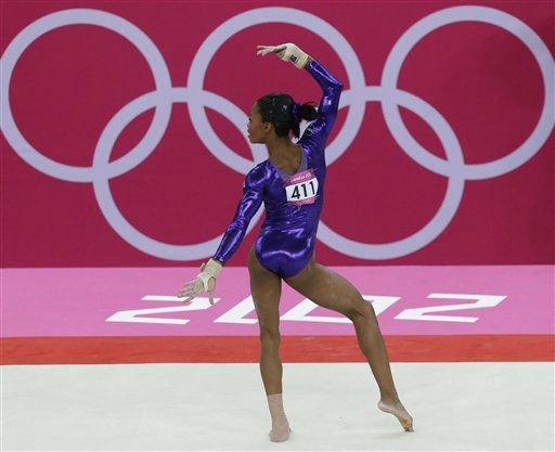 "<div class=""meta image-caption""><div class=""origin-logo origin-image ""><span></span></div><span class=""caption-text"">U.S. gymnast Gabrielle Douglas performs on the floor during the Artistic Gymnastic women's qualifications at the 2012 Summer Olympics, Sunday, July 29, 2012, in London. (AP Photo/Julie Jacobson) (AP Photo/ Julie Jacobson)</span></div>"