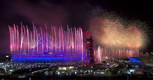 Fireworks illuminate the sky over the Olympic Stadium during the Opening Ceremony of the 2012 Summer Olympics, Saturday, July 28, 2012, in London.   <span class=meta>(AP Photo&#47; Ben Curtis)</span>