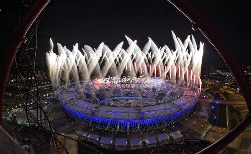 Fireworks ignite over the Olympic Stadium during the Opening Ceremony at the 2012 Summer Olympics, Saturday, July 28, 2012, in London.  <span class=meta>(AP Photo&#47; Mark J. Terrill)</span>