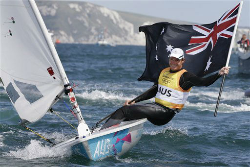 Australia&#39;s Tom Slingsby celebrates after winning the gold medal of the laser class sailing competition at the London 2012 Summer Olympics, Monday, Aug. 6, 2012, in Weymouth and Portland, England. &#40;AP Photo&#47;Bernat Armangue&#41; <span class=meta>(AP Photo&#47; Bernat Armangue)</span>