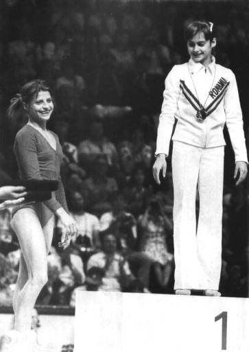 Olga Korbut of Russia, left, smiles along with Romanias Nadia Comaneci, Thursday, July 22, 1976, after each was awarded silver and gold respectively in the balance beam at the Montreal Olympics. &#40;AP Photo&#41; <span class=meta>(AP Photo&#47; XCO VA)</span>