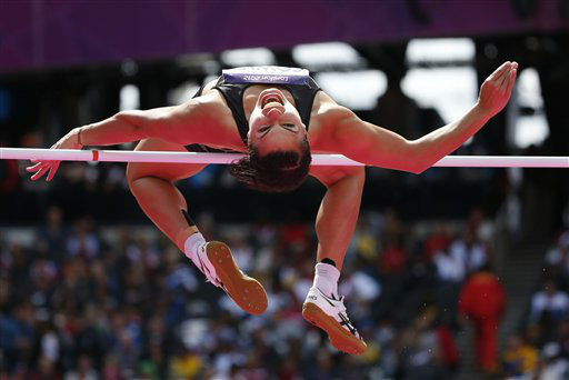 New Zealand&#39;s Sarah Cowley makes an attempt in the High Jump of the women&#39;s Heptathlon during the athletics in the Olympic Stadium at the 2012 Summer Olympics, London, Friday, Aug. 3, 2012. &#40;AP Photo&#47;Matt Dunham&#41; <span class=meta>(AP Photo&#47; Matt Dunham)</span>