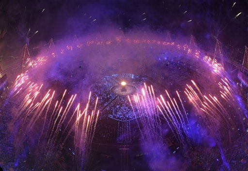 Fireworks light up the stadium during the Opening Ceremony at the 2012 Summer Olympics, Saturday, July 28, 2012, in London.   <span class=meta>(AP Photo&#47; David J. Phillip)</span>