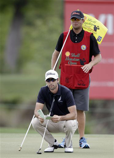 Cameron Tringale lines up a putt on the 17th hole during the first round of the Houston Open golf tournament, Thursday, March 28, 2013, in Humble, Texas.    <span class=meta>(AP Photo&#47; Bob Levey)</span>