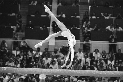 Nadia Comaneci of Romania performs on the balance beam on her way to a gold medal in the event at the Summer Olympics in Moscow on July 26, 1980. &#40;AP Photo&#41; <span class=meta>(AP Photo&#47; Anonymous)</span>