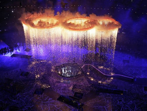 The Olympic rings light up the stadium during the Opening Ceremony at the 2012 Summer Olympics, Friday, July 27, 2012, in London.  <span class=meta>(AP Photo&#47; Morry Gash)</span>
