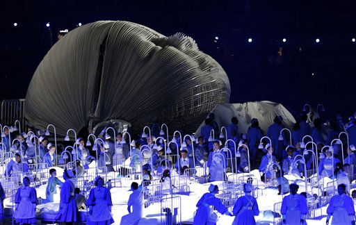 Actors perform in a sequence meant to represent Britain&#39;s National Health Service &#40;NHS&#41; perform during the Opening Ceremony at the 2012 Summer Olympics, Friday, July 27, 2012, in London.    <span class=meta>(AP Photo&#47; Jae C. Hong)</span>