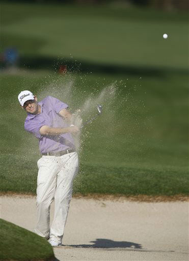 Bill Haas hits a shot out of a bunker on the 13th hole during the second round of the Houston Open golf tournament, Friday, March 29, 2013 in Humble, Texas.   <span class=meta>(AP Photo&#47; Jon Eilts)</span>