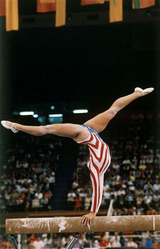 American gymnast Mary Lou Retton during her balance beam routine at the 1984 Summer Olympics in Los Angeles, Calif., Aug. 3, 1984. &#40;AP Photo&#41; <span class=meta>(AP Photo&#47; XMDB)</span>