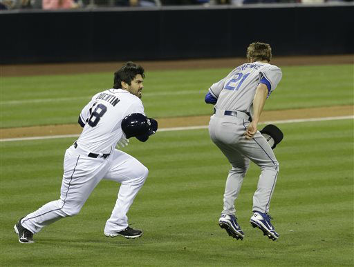 "<div class=""meta ""><span class=""caption-text "">San Diego Padres' Carlos Quentin charges into Los Angeles Dodgers  pitcher Zack Greinke after being hit by a pitch in the sixth inning of baseball game in San Diego, Thursday, April 11, 2013.  (AP Photo/ Lenny Ignelzi)</span></div>"