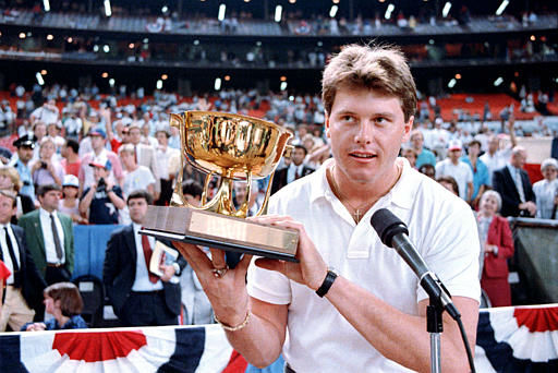 Boston Red Sox pitcher Roger Clemens accepts the All-Star Most Valuable Player trophy following the 57th edition of the All-Star game in Houston, Texas, Tuesday night, July 16, 1986.  Clemens was starting pitcher going three perfect innings to lead the American League to a 3-2 won over the National League.  &#40;AP Photo&#47;John Gaps III&#41; <span class=meta>(AP Photo&#47; JOHN GAPS III)</span>