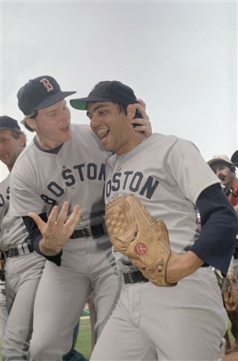 "<div class=""meta ""><span class=""caption-text "">Boston pitcher Roger Clemens, left, gives congratulations to teammate and reliever Calvin Schiraldi on Sunday, Oct. 12, 1986 in Anaheim after Schiraldi spoiled the California Angels? chances of a World Series by taking game five of the American League Championship Series, 7-6 in 11 innings. (AP Photo/Reed Saxon) (AP Photo/ Reed Saxon)</span></div>"
