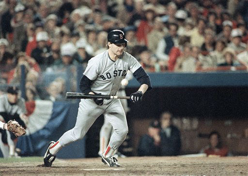 Boston pitcher Roger Clemens lays down a sacrifice bunt in the fourth inning of the second game of the World Series in New York, Sunday, Oct. 19, 1986 against the New York Mets. &#40;AP Photo&#47;Peter Southwick&#41; <span class=meta>(AP Photo&#47; Peter Southwick)</span>