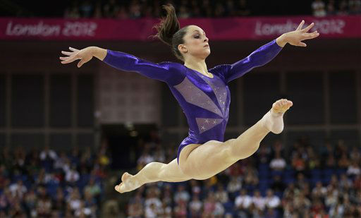 U.S. gymnast Jordyn Wieber performs on the floor during the Artistic Gymnastics women&#39;s qualification at the 2012 Summer Olympics, Sunday, July 29, 2012, in London. &#40;AP Photo&#47;Gregory Bull&#41; <span class=meta>(AP Photo&#47; Gregory Bull)</span>