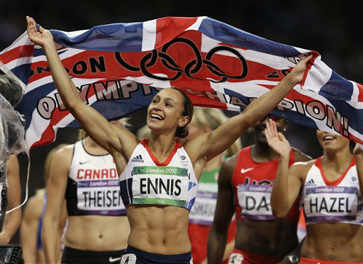 Britain&#39;s Jessica Ennis celebrates winning gold following the 800-meter heptathlon as she and other athletes complete a victory lap during the athletics in the Olympic Stadium at the 2012 Summer Olympics, London, Saturday, Aug. 4, 2012. &#40;AP Photo&#47;Kirsty Wigglesworth&#41; <span class=meta>(AP Photo&#47; Kirsty Wigglesworth)</span>