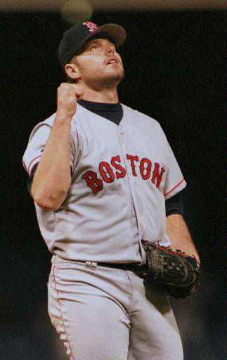 Boston Red Sox pitcher Roger Clemens celebrates after striking out Detroit Tigers&#39; Travis Fryman for his 20th strikeout of the game that equals his own major league record Wednesday, Sept. 18, 1996, in Detroit. The Red Sox beat the Tigers 4-0. &#40;AP Photo&#47;Tim Fitzgerald&#41; <span class=meta>(AP Photo&#47; TIM FITZGERALD)</span>