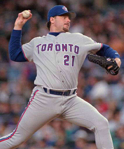 "<div class=""meta image-caption""><div class=""origin-logo origin-image ""><span></span></div><span class=""caption-text"">Toronto Blue Jays' pitcher Roger Clemens fires a pitch to New York Yankees batter Tim Raines in the first inning Wednesday, May 21, 1997 at Yankee Stadium in New York. Clemens can reach 200 career wins with a victory. (AP Photo/John Dunn) (AP Photo/ JOHN DUNN)</span></div>"