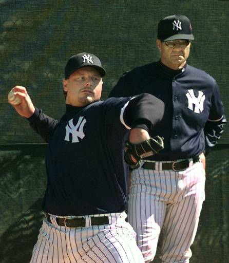 "<div class=""meta ""><span class=""caption-text "">New York Yankees manager Joe Torre, right, watches newly acquired pitcher Roger Clemens, a five-time Cy Young award winner, throw in the bullpen Saturday, Feb. 20, 1999, at Legends Field in Tampa, Fla.  Clemens was acquired  from the Toronto Blue Jays in a trade for Yankees pitchers David Wells, Graeme Lloyd and infielder Homer Bush.(AP Photo/Kathy Willens) (AP Photo/ KATHY WILLENS)</span></div>"