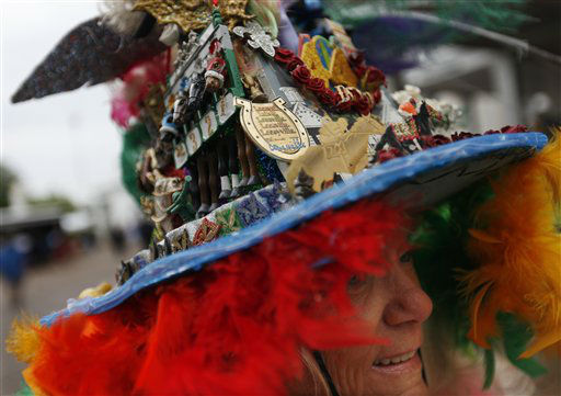 Jinny Keen, from Louisville, Ky., wears a handmade hat, celebrating her 44th Derby appearance before the running of the 139th Kentucky Derby at Churchill Downs Saturday, May 4, 2013, in Louisville, Ky.   <span class=meta>(AP Photo&#47; David Goldman)</span>