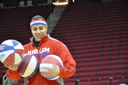 ABC13 Reporter Christine Dobbyn got some pointers from Harlem Globetrotters dynamic dribbler Blenda Rodriguez