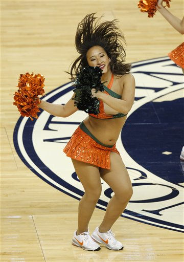 A Miami cheerleader performs in the first half of an NCAA college basketball game againt North Carolina at the Atlantic Coast Conference tournament in Greensboro, N.C., Friday, March 11, 2011. &#40;AP Photo&#47;Chuck Burton&#41; <span class=meta>(AP Photo&#47; Chuck Burton)</span>
