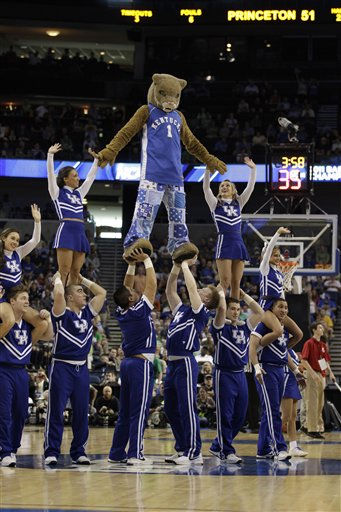Kentucky cheerleaders perform during an East regional second round NCAA  tournament college basketball game against Princeton in Tampa, Fla., Thursday, March 17, 2011. &#40;AP Photo&#47;Chris O&#39;Meara&#41; <span class=meta>(AP Photo&#47; Chris O&#39;Meara)</span>