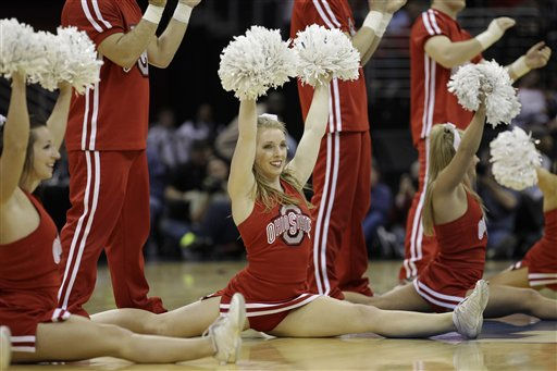 The Ohio State cheerleaders perform during an East regional NCAA college basketball tournament second round game against Texas-San Antonio Friday, March 18, 2011, in Cleveland.  &#40;AP Photo&#47;Amy Sancetta&#41; <span class=meta>(AP Photo&#47; Amy Sancetta)</span>