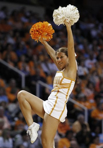 "<div class=""meta ""><span class=""caption-text "">ATennessee cheerleader performs in the first half of a first round game between Tennessee and Stetson in the NCAA college basketball tournament on Saturday, March 19, 2011, in Knoxville, Tenn. (AP Photo/Mark Humphrey) (AP Photo/ Mark Humphrey)</span></div>"