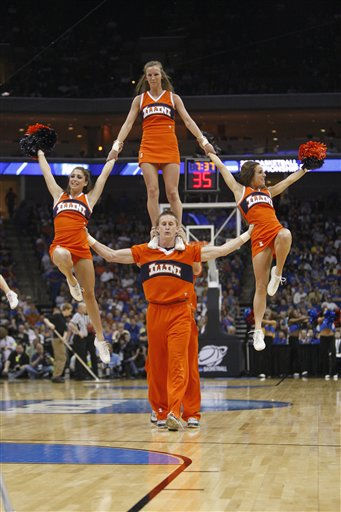 "<div class=""meta ""><span class=""caption-text "">Illinois cheerleaders perform during the second half of a Southwest Regional NCAA tournament third-round college basketball game on Sunday, March 20, 2011, in Tulsa, Okla. (AP Photo/Sue Ogrocki) (AP Photo/ Sue Ogrocki)</span></div>"