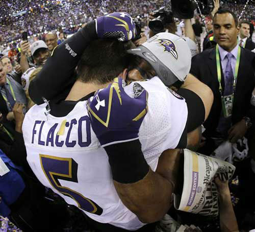 Baltimore Ravens quarterback Joe Flacco &#40;5&#41; celebrates with linebacker Ray Lewis after defeating the San Francisco 49ers 34-31 in the NFL Super Bowl XLVII football game, Sunday, Feb. 3, 2013, in New Orleans. &#40;AP Photo&#47;Matt Slocum&#41; <span class=meta>(Photo&#47;Matt Slocum)</span>