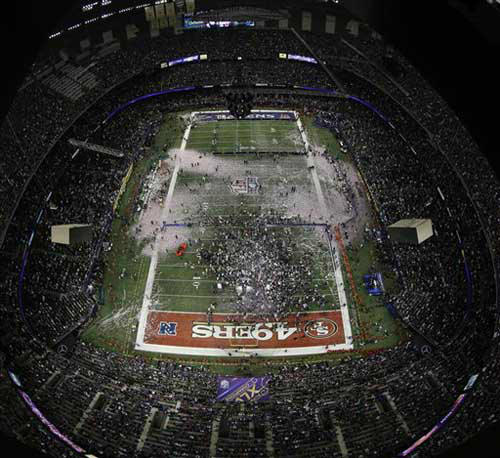 Confetti falls in the Superdome as the Baltimore Ravens celebrate their 34-31 win against the San Francisco 49ers in the NFL Super Bowl XLVII football game, Sunday, Feb. 3, 2013, in New Orleans. &#40;AP Photo&#47;Matt Slocum&#41; <span class=meta>(Photo&#47;Matt Slocum)</span>