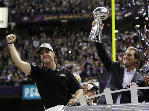 Baltimore Ravens owner Stephen J. Bisciotti, right, holds up the Vince Lombardi Trophy as he and head coach John Harbaugh celebrate the team&#39;s 34-31win against the San Francisco 49ers in the NFL Super Bowl XLVII football game, Sunday, Feb. 3, 2013, in New Orleans. &#40;AP Photo&#47;Matt Slocum&#41; <span class=meta>(Photo&#47;Matt Slocum)</span>