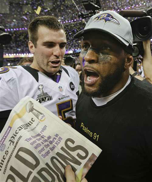 Baltimore Ravens quarterback Joe Flacco &#40;5&#41;  and linebacker Ray Lewis celebrate after defeating the San Francisco 49ers 34-31 in the NFL Super Bowl XLVII football game, Sunday, Feb. 3, 2013, in New Orleans. &#40;AP Photo&#47;Patrick Semansky&#41; <span class=meta>(Photo&#47;Patrick Semansky)</span>
