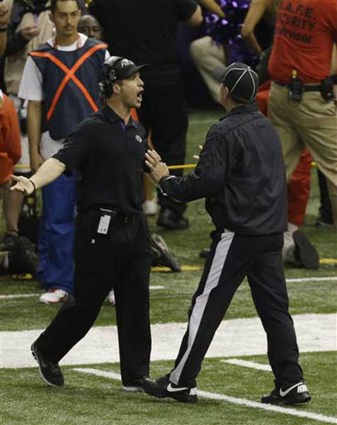 "<div class=""meta image-caption""><div class=""origin-logo origin-image ""><span></span></div><span class=""caption-text"">Baltimore Ravens head coach John Harbaugh argues with an official during the second half of the NFL Super Bowl XLVII football game against the San Francisco 49ers Sunday, Feb. 3, 2013, in New Orleans. (AP Photo/Gerald Herbert) (Photo/Gerald Herbert)</span></div>"
