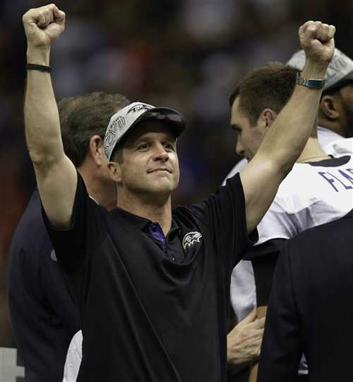 "<div class=""meta image-caption""><div class=""origin-logo origin-image ""><span></span></div><span class=""caption-text"">Baltimore Ravens head coach John Harbaugh celebrates after defeating the San Francisco 49ers 34-31 in the NFL Super Bowl XLVII football game, Sunday, Feb. 3, 2013, in New Orleans. (AP Photo/Gene Puskar) (AP Photo/ Gene Puskar)</span></div>"